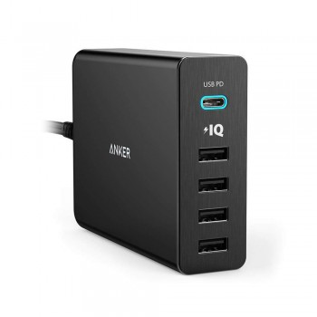 Anker Power Delivery Port Speed Charger - 60W, 5 Port USB, USB-C, Black