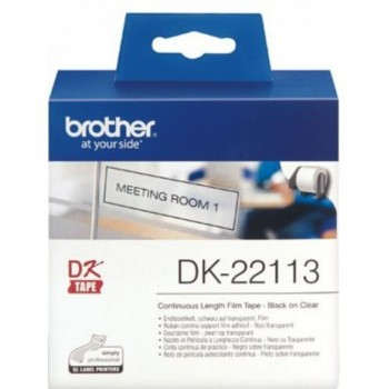 Brother DK22113 Black on Clear Continuous Length Film - 62mm x 15.24m