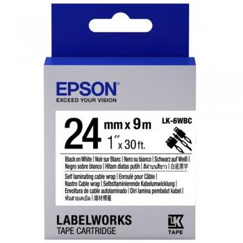 Epson Label Cartridge Cable Wrap LK-6WBC Black/White 24mm (9m)