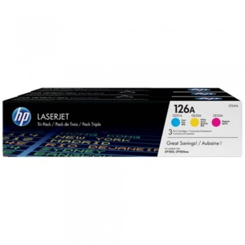 HP 126A 3-pack Original LaserJet Toner Cartridges - Cyan/Magenta/Yellow (CF341A)