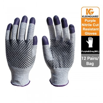 KleenGuard™ G60 Endurapro™ Dual Grip™ Purple Nitrile Gloves Grey & Purple, 1x12 (24 gloves) - 97431 (M)