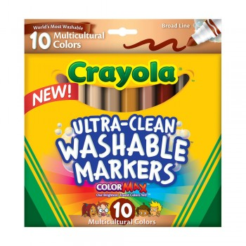 Crayola 10ct Broad Line Multicultural Washable Markers - 587857