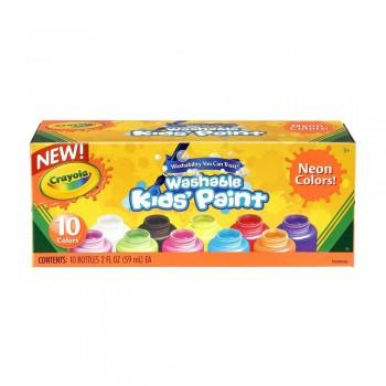 Crayola 10ct Neon Washable Kids Paint 2oz - 542390