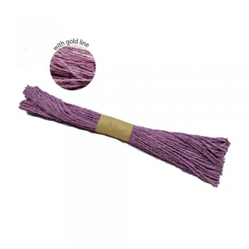 Colorful Paper Rope 25meters with Gold Line - Purple