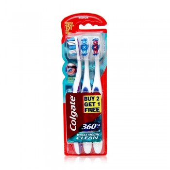 Colgate 360 Whole Mouth Clean Toothbrush Value Pack Medium x 3 pcs